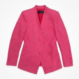 Zara Hot Pink Linen-Blend Blazer
